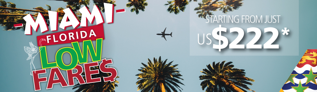 Wow! Now fly between Cayman & Miami for as low as CI$187 / US$222 roundtrip incl. taxes & fees! Restrictions apply.