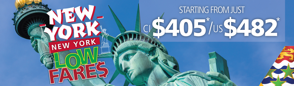 Exciting! Fly between Cayman & New York with airfares from just CI$405 / US$482 R/T incl. taxes! Restrictions apply.